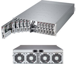 "Сервер Supermicro SYS-5038ML-H12TR; 3U, 12xNode (UP); 12x (1xCPU E3-12xx LGA 1150, upto 32GB ECC, 2x3,5"" H"