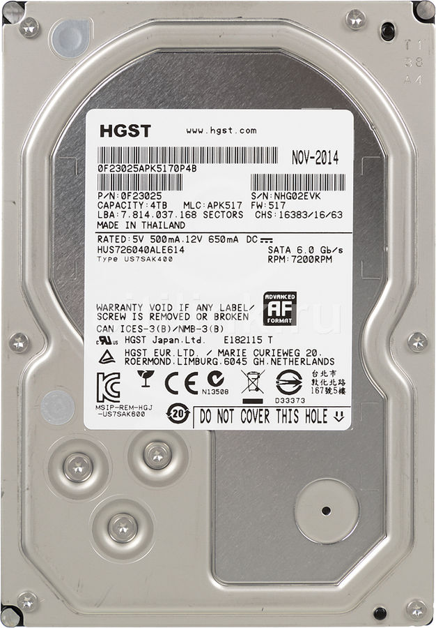 "HGST Enterprise HDD 3.5"" SATA-III 4000Gb, 7200rpm, 128MB buffer (HUS726040ALE614 Hitachi Ultrastar Raid Edition) 0F23025"